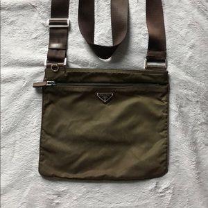 Prada Vela nylon crossbody purse/bag in brown